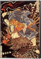 Oki no Jiro Hiroari killing a monstrous tengu Fine-Art Print