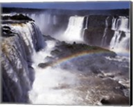 Rainbow over a waterfall, Devil's Throat, Iguacu Falls, Iguacu River, Parana, Brazil Fine-Art Print