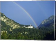 Rainbow over a castle, Neuschwanstein Castle, Bavaria, Germany Fine-Art Print