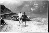 The Belgian Maurice Geldhof is climbing part of the Aubisque on foot. Tour de France 1928 Fine-Art Print