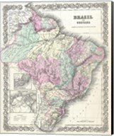 1855 Colton Map of Brazil 1855 Fine-Art Print