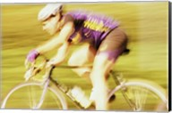 Side profile of a young man cycling Fine-Art Print