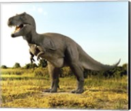 Close-up of a tyrannosaurus rex standing in a field Fine-Art Print
