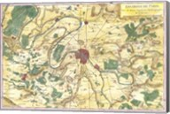 1780 Bonne Map of the Environs of Paris, France Fine-Art Print