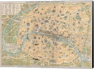 1890 Guilmin Map of Paris, France with Monuments Fine-Art Print