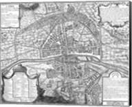 Plan de Paris - black and white map Fine-Art Print