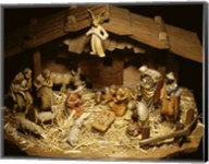 Close-up of figurines depicting a nativity scene Fine-Art Print