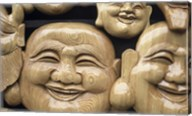 Close-up of Faces of Laughing Buddha, Vietnam Fine-Art Print