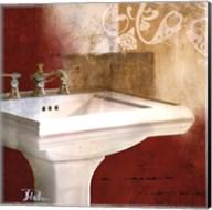 Red Bathroom & Ornament II Fine-Art Print