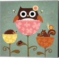 Owl, Squirrel and Hedgehog in Flowers Fine-Art Print