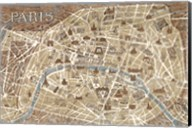 Monuments of Paris Map - Blue Fine-Art Print