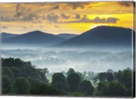 Asheville NC Blue Ridge Mountains Sunset and Fog Landscape Fine-Art Print