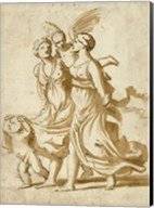 Two Girls Accompanied by Cupid Fine-Art Print
