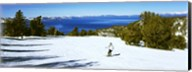 Tourist skiing in a ski resort, Heavenly Mountain Resort, Lake Tahoe, California-Nevada Border, USA Fine-Art Print