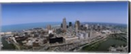 Aerial view of buildings in a city, Cleveland, Cuyahoga County, Ohio, USA Fine-Art Print
