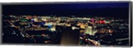 High angle view of a city lit up at night, The Strip, Las Vegas, Nevada, USA Fine-Art Print