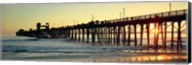 Pier in the ocean at sunset, Oceanside, San Diego County, California, USA Fine-Art Print