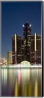 Skyscrapers lit up at dusk, Renaissance Center, Detroit River, Detroit, Michigan, USA Fine-Art Print
