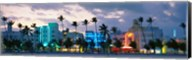 Buildings Lit Up At Dusk, Ocean Drive, Miami Beach, Florida, USA Fine-Art Print