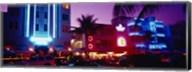 Hotel lit up at night, Miami, Florida, USA Fine-Art Print