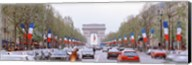 Traffic on a road, Arc De Triomphe, Champs Elysees, Paris, France Fine-Art Print