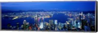 Hong Kong with Bright Blue Night Sky, China Fine-Art Print