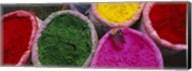 High angle view of various tika powders, Braj, Mathura, Uttar Pradesh, India Fine-Art Print