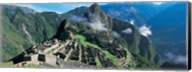 High angle view of ruins of ancient buildings, Inca Ruins, Machu Picchu, Peru Fine-Art Print