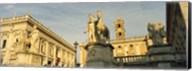 Low angle view of a statues in front of a building, Piazza Del Campidoglio, Palazzo Senatorio, Rome, Italy Fine-Art Print