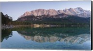 Wetterstein Mountains, Zugspitze Mountain and Eibsee Hotel reflecting in Lake Eibsee, Bavaria, Germany Fine-Art Print