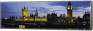 Government Building Lit Up At Night, Big Ben And The Houses Of Parliament, London, England, United Kingdom Fine-Art Print