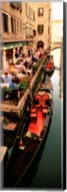 Gondolas moored outside of a cafe, Venice, Italy Fine-Art Print