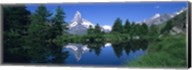 Reflection of a snow covered mountain near a lake, Grindjisee, Matterhorn, Zermatt, Switzerland Fine-Art Print