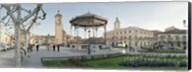 Tourists in front of buildings, Plaza De Cervantes, Alcala De Henares, Madrid, Spain Fine-Art Print