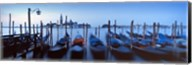 Row of gondolas moored near a jetty, Venice, Italy Fine-Art Print