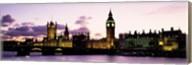 Buildings lit up at dusk, Big Ben, Houses of Parliament, Thames River, City Of Westminster, London, England Fine-Art Print