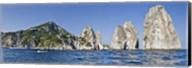 Rock formations in the sea, Faraglioni, Capri, Naples, Campania, Italy Fine-Art Print
