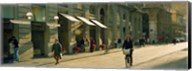 Cyclists and pedestrians on a street, City Center, Florence, Tuscany, Italy Fine-Art Print