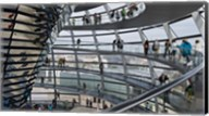 Tourists near the mirrored cone at the center of the dome, Reichstag Dome, The Reichstag, Berlin, Germany Fine-Art Print
