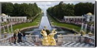 Golden statue and fountain at Grand Cascade at Peterhof Grand Palace, St. Petersburg, Russia Fine-Art Print