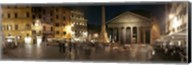 Town square with buildings lit up at night, Pantheon Rome, Piazza Della Rotonda, Rome, Lazio, Italy Fine-Art Print
