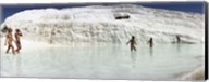 Children enjoying in the hot springs and travertine pool, Pamukkale, Denizli Province, Turkey Fine-Art Print