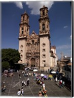 Group of people in front of a cathedral, Santa Prisca Cathedral, Plaza Borda, Taxco, Guerrero, Mexico Fine-Art Print