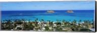 High angle view of a town at waterfront, Lanikai, Oahu, Hawaii, USA Fine-Art Print