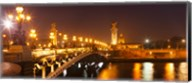 Bridge across the river at night, Pont Alexandre III, Seine River, Paris, Ile-De-France, France Fine-Art Print