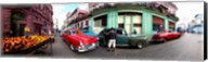 360 degree view of old cars and fruit stand on a street, Havana, Cuba Fine-Art Print
