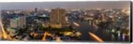High angle view of city at dusk, Chao Phraya River, Bangkok, Thailand Fine-Art Print