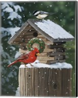 Cardinal / Chickadee In Snow Fine-Art Print