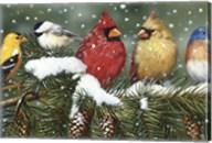 Backyard Birds On Snowy Branch Fine-Art Print