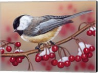 Chickadee With Berries Fine-Art Print
